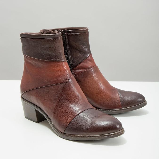 Skórzane botki damskie bata, brązowy, 696-4653 - 18