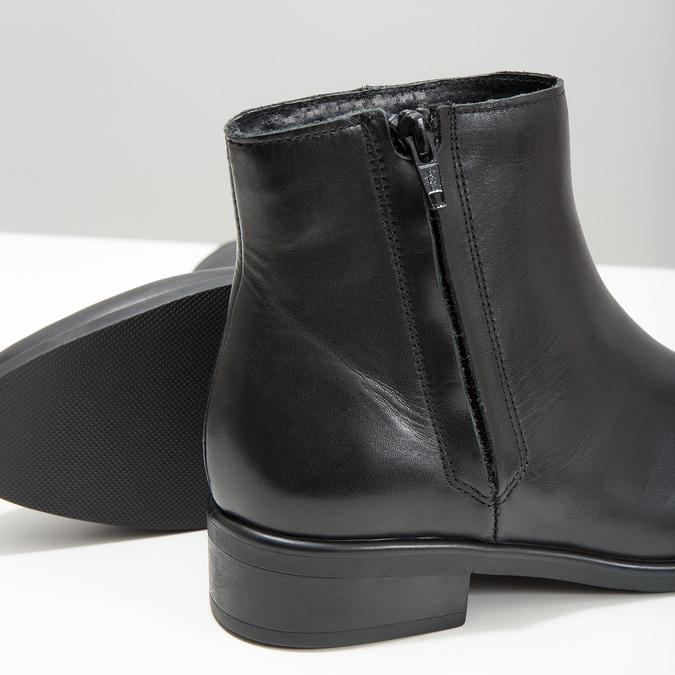 Czarne skórzane botki z suwakami bata, czarny, 594-6518 - 14