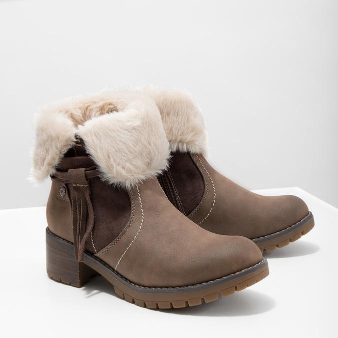 Buty za kostkę z kożuszkiem bata, brązowy, 691-2633 - 18