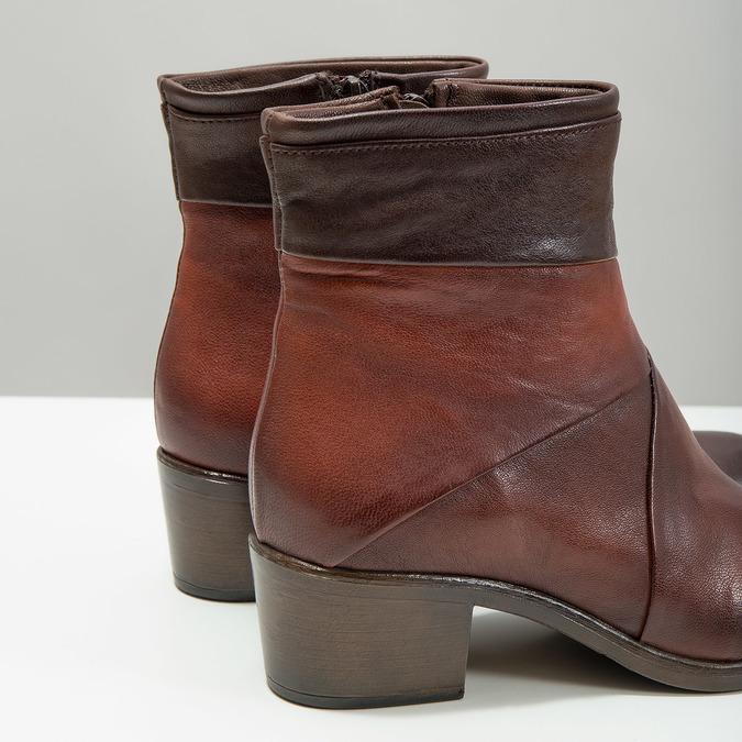 Skórzane botki damskie bata, brązowy, 696-4653 - 14