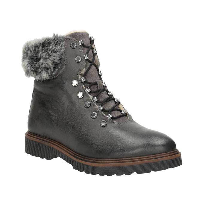 Skórzane buty zimowe zfuterkiem bata, szary, 594-6650 - 13