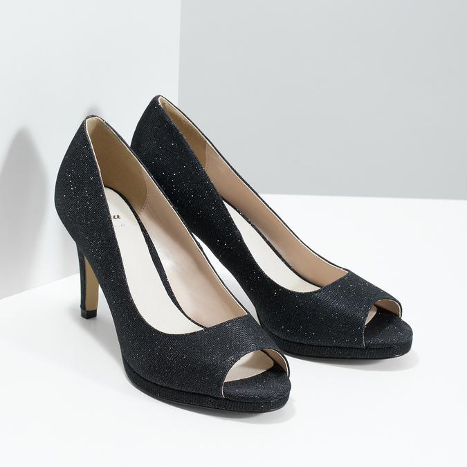 Czółenka zotwartymi noskami bata, czarny, 729-6610 - 26