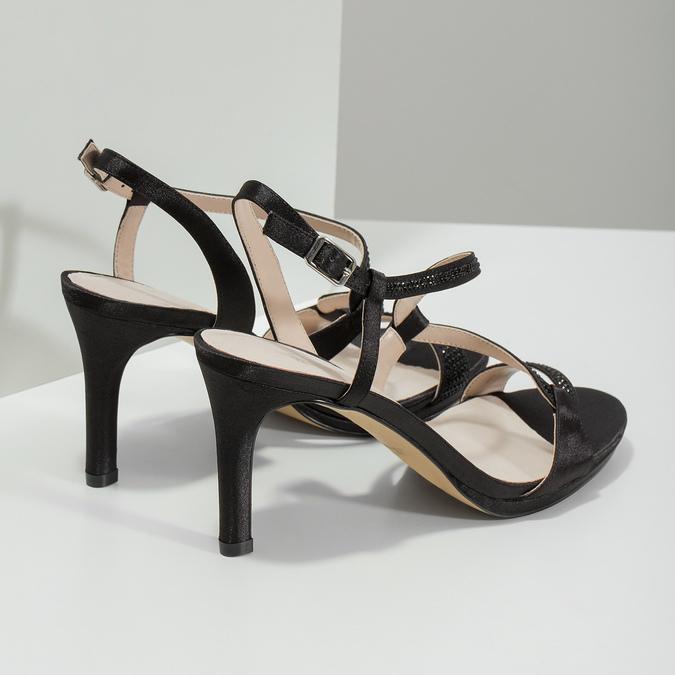 Wyjściowe sandały damskie zkryształkami bata, czarny, 729-6611 - 16