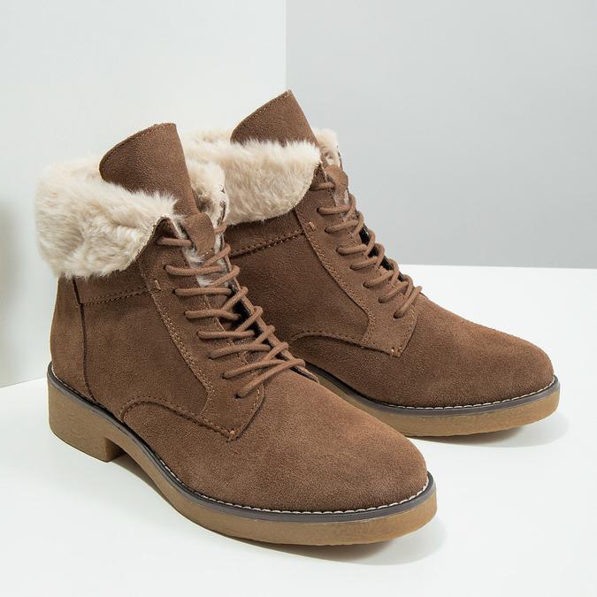 Zimowe buty damskie zfuterkiem bata, brązowy, 593-4607 - 18