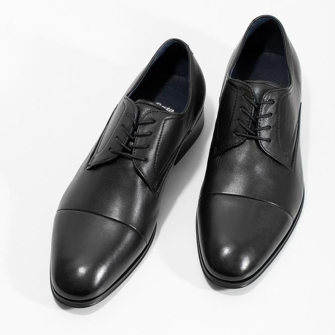 Skórzane półbuty męskie typu angielki bata, czarny, 824-6406 - 16