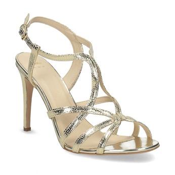 Wyjściowe złote sandały ze skóry bata, 726-8648 - 13