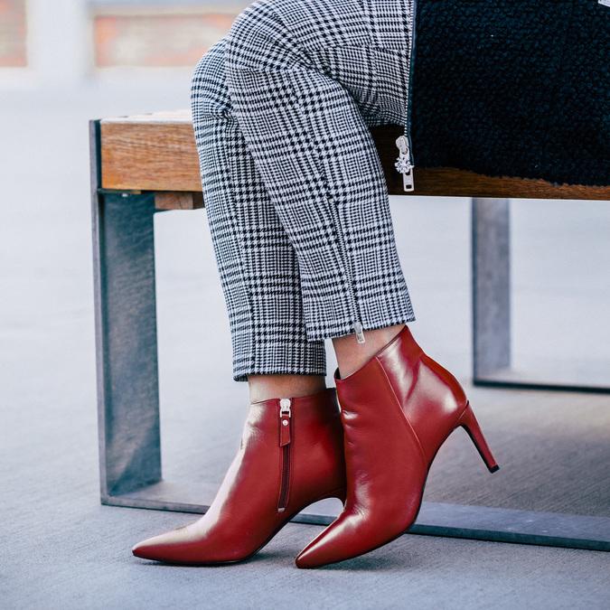 Czerwone skórzane botki bata, czerwony, 794-5651 - 18