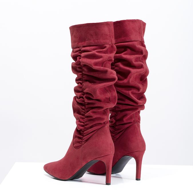 Czerwone kozaki damskie zmarszczeniami bata, czerwony, 799-5619 - 16