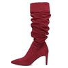 Czerwone kozaki damskie zmarszczeniami bata, czerwony, 799-5619 - 17