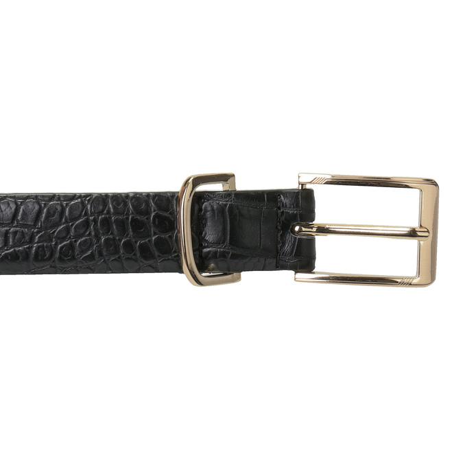 Czarny pasek damski ze złotą klamrą bata, czarny, 951-6602 - 26