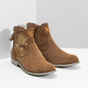 Skórzane botki zhaftem bata, brązowy, 596-4686 - 26