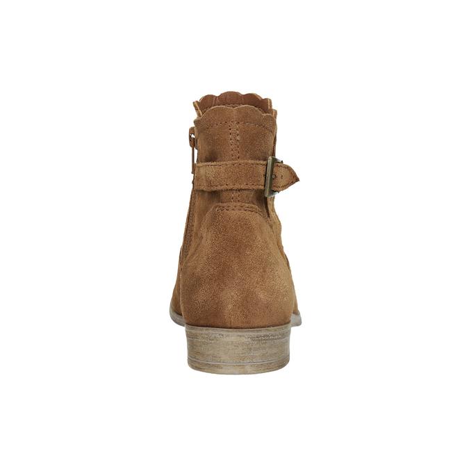 Skórzane botki zhaftem bata, brązowy, 596-4686 - 15