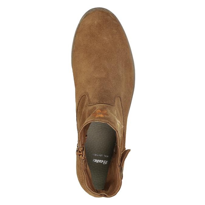 Skórzane botki zhaftem bata, brązowy, 596-4686 - 17