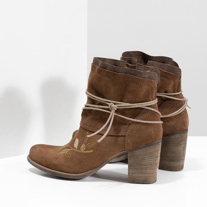 Skórzane botki zhaftem bata, brązowy, 696-4655 - 16