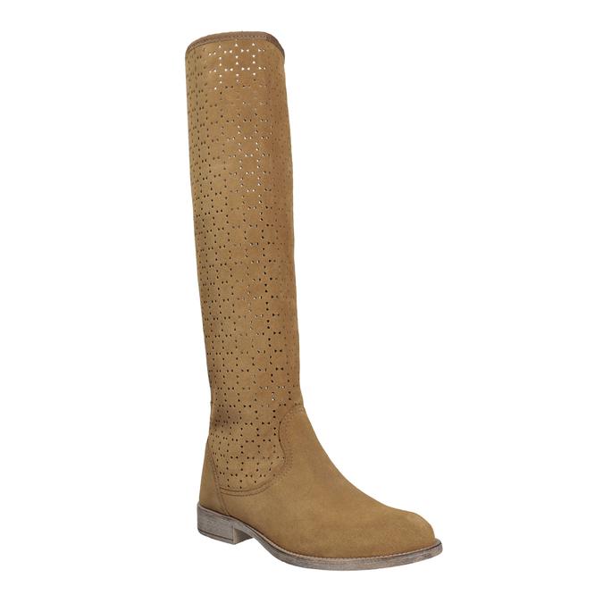 Perforowane kozaki damskie bata, brązowy, 596-4688 - 13