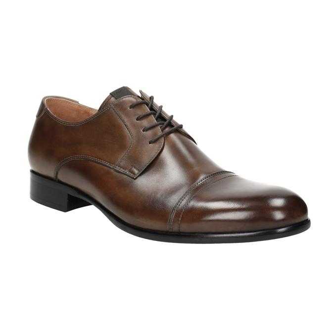 Brązowe skórzane półbuty typu angielki bata, brązowy, 826-3863 - 13