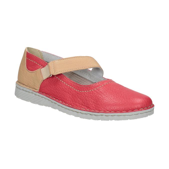 Skórzane baleriny zpaskami bata, czerwony, 526-5651 - 13