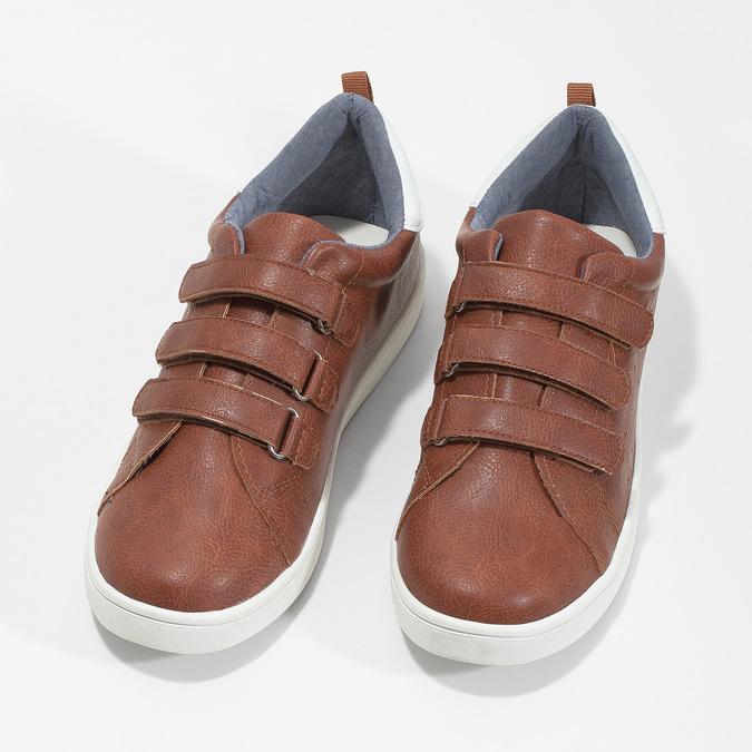Brązowe trampki dziecięce zperforacją mini-b, brązowy, 411-4609 - 16