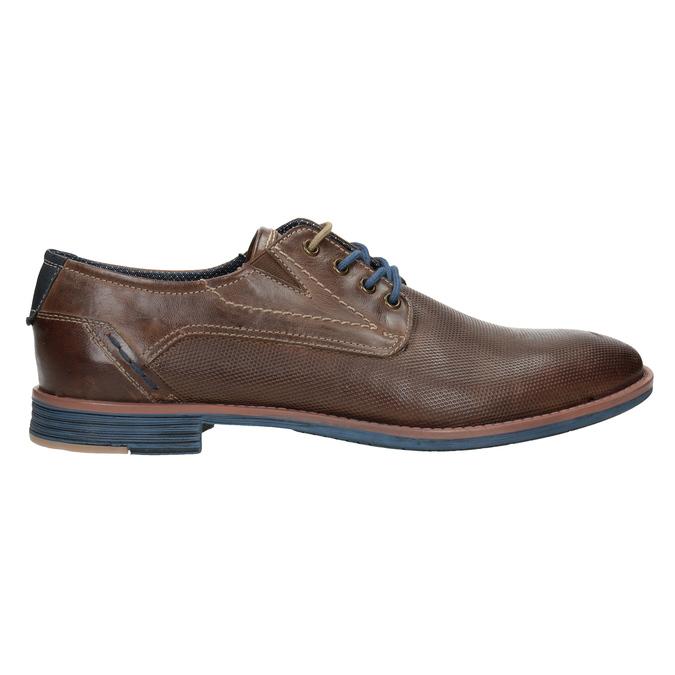 Brązowe skórzane półbuty wnieformalnym stylu bata, brązowy, 826-4929 - 26