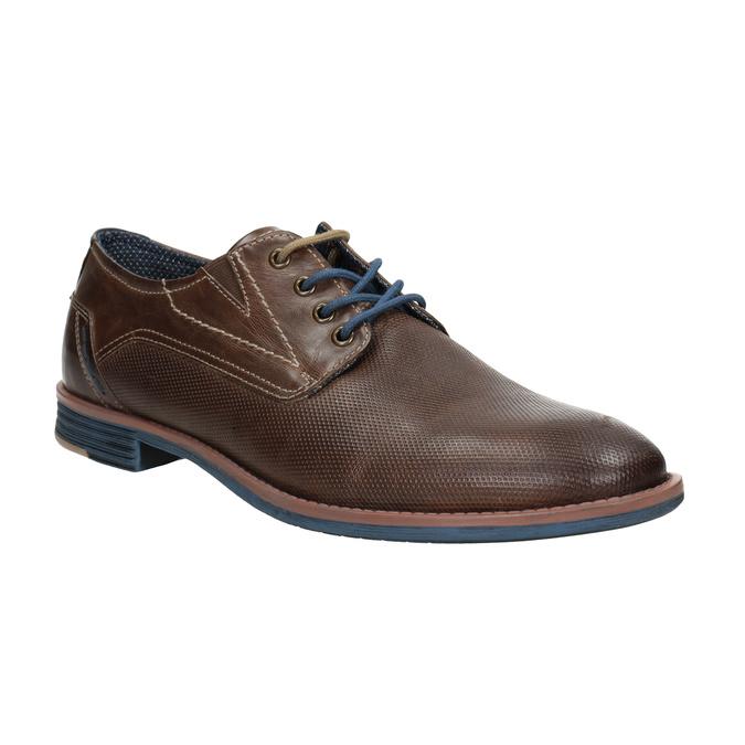 Brązowe skórzane półbuty wnieformalnym stylu bata, brązowy, 826-4929 - 13