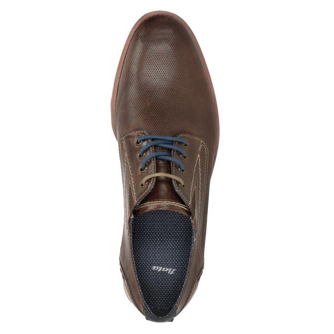 Brązowe skórzane półbuty wnieformalnym stylu bata, brązowy, 826-4929 - 15
