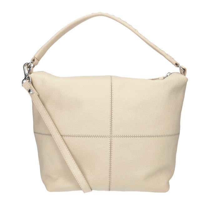 Kremowa skórzana torba wstylu hobo bata, beżowy, 964-8290 - 16