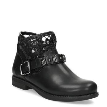 Czarne kozaki zkoronką bata, czarny, 591-6628 - 13