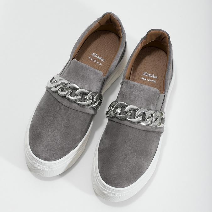 Slip-on damskie zmetalową klamrą bata, szary, 513-2600 - 16