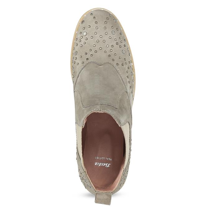 Skórzane botki zmetalowymi ćwiekami bata, szary, 596-2690 - 17