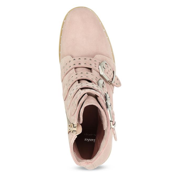 Skórzane kozaki zklamrami bata, różowy, 596-5691 - 17