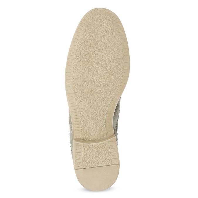 Skórzane botki zmetalowymi ćwiekami bata, szary, 596-2690 - 18