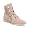 Skórzane kozaki zklamrami bata, różowy, 596-5691 - 13