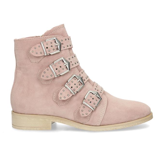 Skórzane kozaki zklamrami bata, różowy, 596-5691 - 19