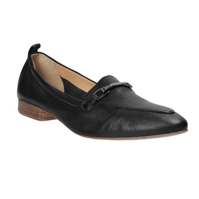 9ccb16b7f16ad6 Skórzane mokasyny damskie z wędzidłami bata, czarny, 516-6619 - 13