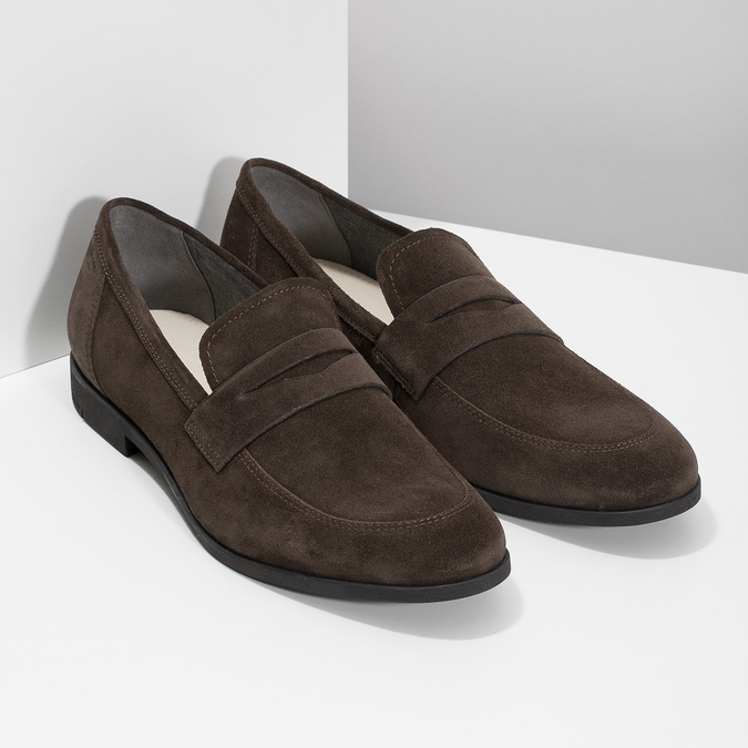 Skórzane mokasyny wstylu penny loafersów vagabond, brązowy, 813-4053 - 26