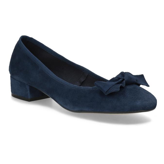 Niebieskie zamszowe baleriny bata, niebieski, 523-9420 - 13