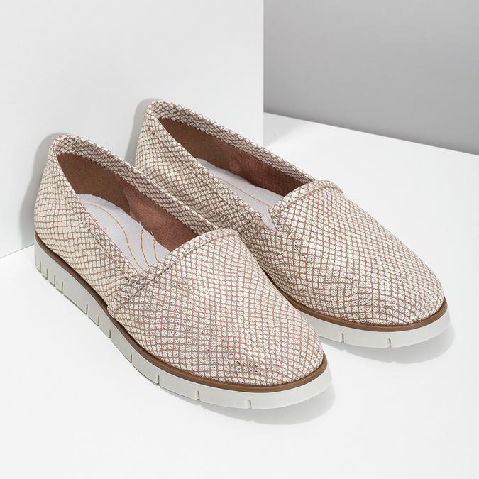 Skórzane obuwie damskie typu slip-on na kontrastowej podeszwie flexible, 536-5603 - 26