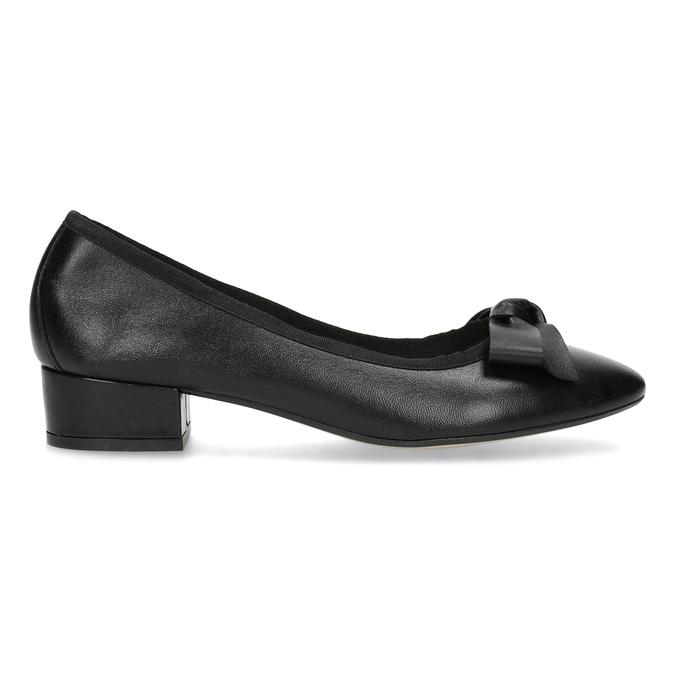 Czarne skórzane baleriny zkokardami bata, czarny, 524-6420 - 19