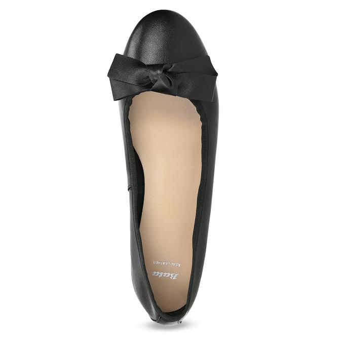 Czarne skórzane baleriny zkokardami bata, czarny, 524-6420 - 17
