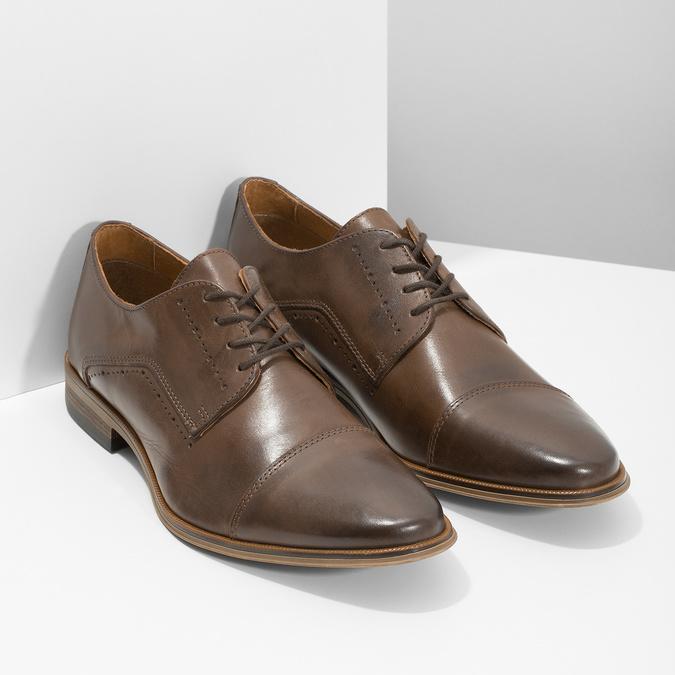 Skórzane półbuty męskie ze zdobieniami bata, brązowy, 826-4927 - 26