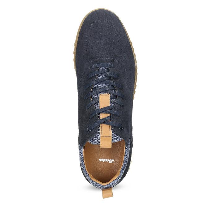 Granatowe zamszowe trampki męskie bata, 843-9634 - 17