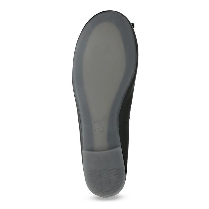 Czarne skórzane baleriny zkokardkami bata, czarny, 524-6144 - 18