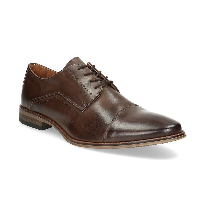 Skórzane półbuty męskie ze zdobieniami bata, brązowy, 826-4927 - 13