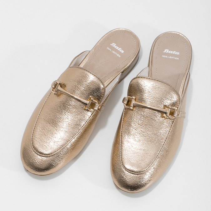 Klapki damskie zwędzidłami bata, złoty, 511-8609 - 16