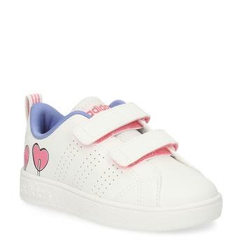 Białe trampki dziecięce zserduszkami adidas, biały, 101-1129 - 13