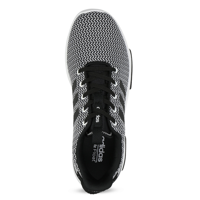 Czarno-białe trampki zwzorzystej dzianiny adidas, czarny, 809-1101 - 17
