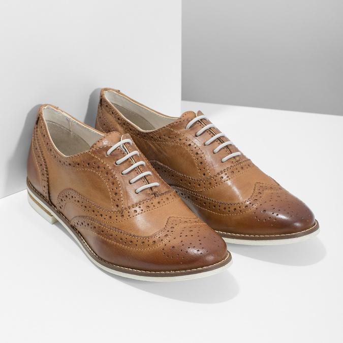 Brązowe skórzane półbuty damskie bata, brązowy, 526-3649 - 26