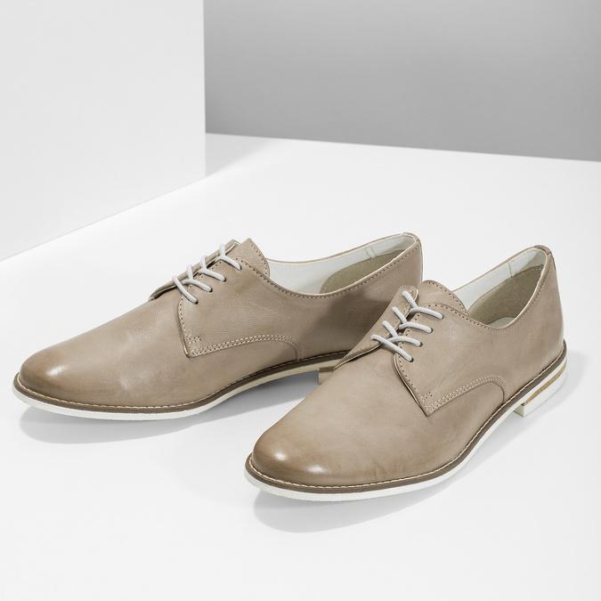 Skórzane półbuty damskie bata, beżowy, 526-8650 - 16