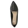Skórzane loafersy damskie zperforacją bata, czarny, 524-6659 - 17