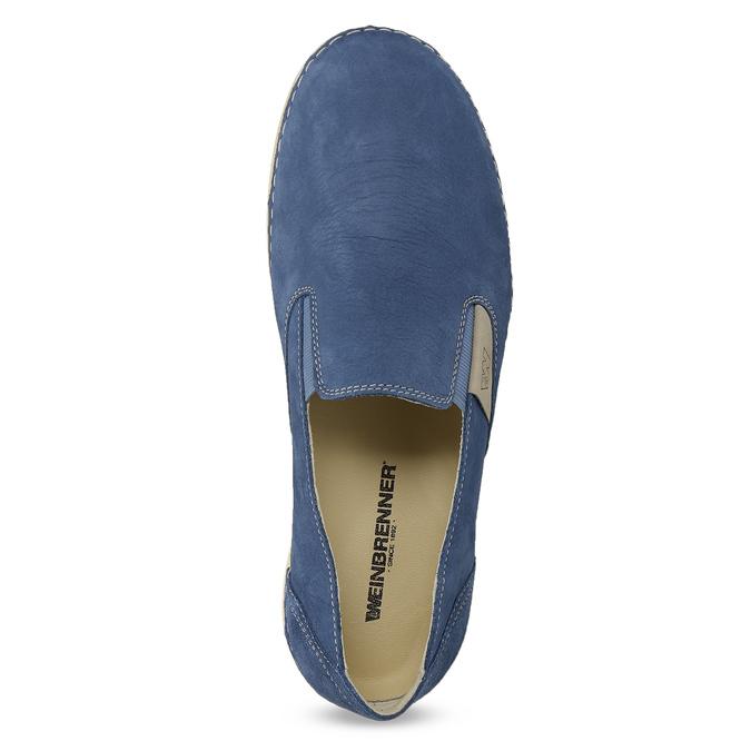 Niebieskie skórzane slip-on damskie weinbrenner, 536-9606 - 17
